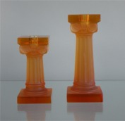 Candlesticks made of orange glass (Antique motifs)